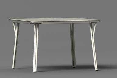 Factor Table shown with Alabaster Texture powdercoated frame and aluminum table