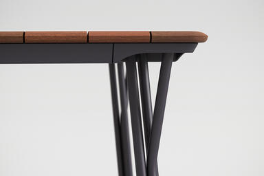 Factor Table shown with Aubergine Texture powdercoated frame and FSC 100% Teak