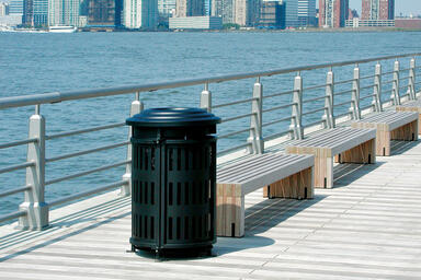 Urban Renaissance Receptacle, top opening, Vertical grillwork, Black Texture
