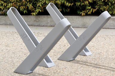 Bay City Bike Racks shown with Aluminum Texture powdercoat