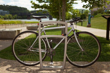 Cordia Bike Rack shown with Argento Texture powdercoat