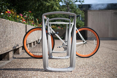 Twist Bike Racks shown with Aluminum Texture powdercoat