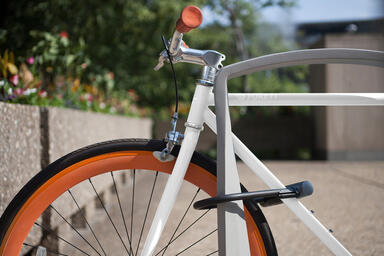 Twist Bike Rack shown with Aluminum Texture powdercoat