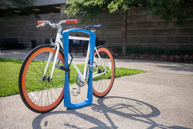 Twist Bike Rack shown with Azure Texture powdercoat
