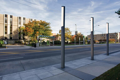 Trio Pedestrian Lighting shown with Aluminum Texture powdercoat