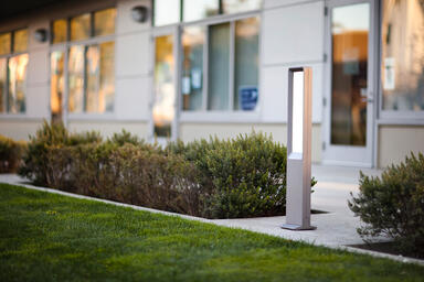 Tangent Bollard shown with Aluminum Texture powdercoat