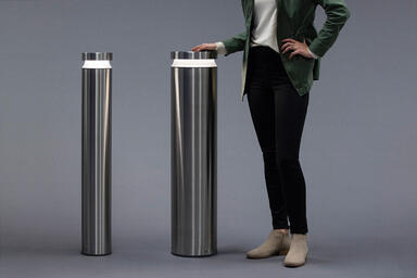 Helio M30/K4 Security Bollard and Helio Bollard in Stainless Steel with Satin
