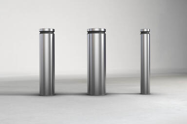 Helio Bollards, Series 900, 1200, and 600 in Stainless Steel with Satin finish