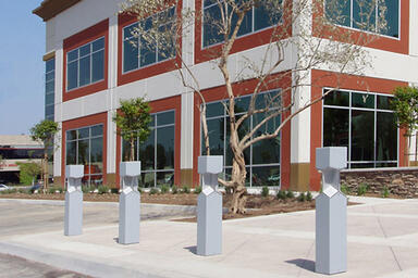Knight Bollards, security bollard configuration, Silver Texture powdercoat