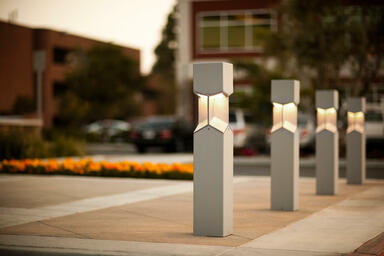 Knight Bollards shown in security bollard configuration with Silver Texture