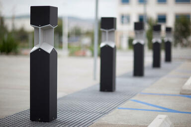 Knight Bollards shown with Black Texture powdercoat