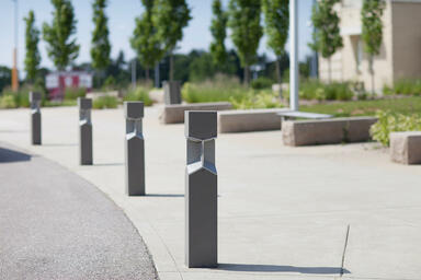 Knight Bollards shown with Slate Texture powdercoat