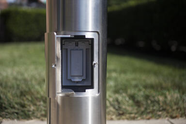 Light Column Bollard with optional GFCI outlet, door open