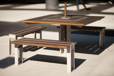 Apex Table Ensemble shown in three-bench configuration with Aluminum Texture