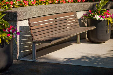 Knight Bench shown in 6 foot, backed configuration with Aluminum Texture