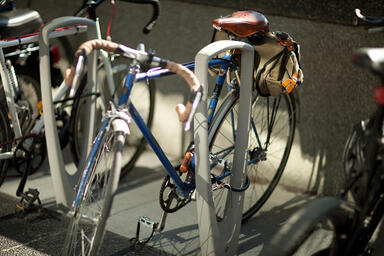 Trio Bike Racks shown with Aluminum Texture powdercoat at Private Location