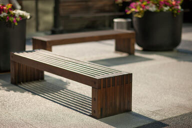 Hudson Benches shown in 6 foot, surface mount configuration with FSC® 100% Ipé