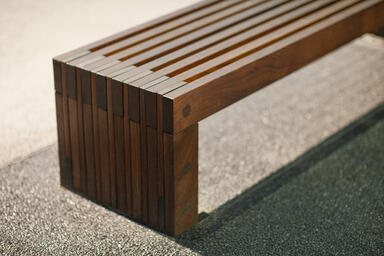 Hudson Bench shown in 6 foot, surface mount configuration with FSC® 100% Ipé