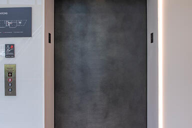 Elevator door in Elemental Carbon with Ice finish at 426 West Lancaster Avenue,