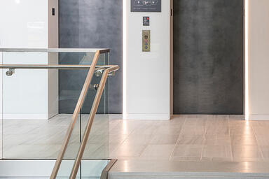 Elevator doors in Elemental Carbon with Ice finish at 426 West Lancaster Avenue,