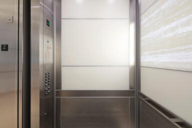 LEVELe-104 Elevator Interior with customized panel layout; Capture panels in Viv