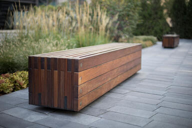 Hudson Benches shown in 8 foot configuration with FSC® 100% Ipé hardwood slats