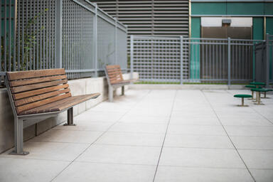 Knight Benches shown in 6 foot, backed configuration with Aluminum Texture