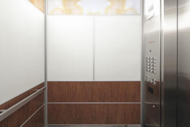 LEVELe-106 Elevator Interior with LightPlane Panels in custom ViviStone