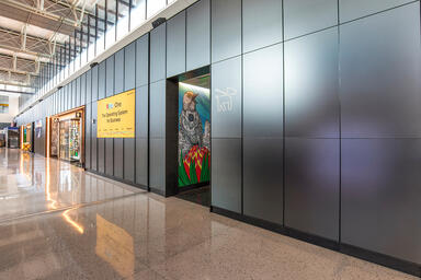 LEVELr Wall Cladding System with panels in ViviChrome Chromis glass in Reflect c