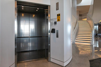 LEVELe-101 Elevator Interior with customized panel layout; Capture panels in Ber