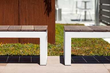 Duo Benches shown with White Texture powdercoated frames and FSC® 100%
