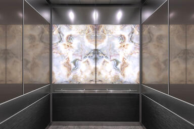 LEVELe-106 Elevator Interior with LightPlane Panels in ViviStone Opal Onyx glass