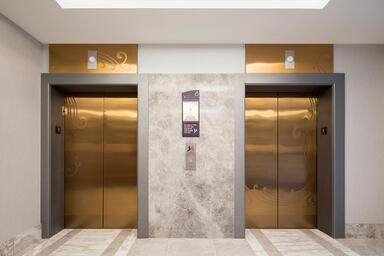 Elevator doors shown in Fused Bronze with Satin finish and custom Eco-Etch
