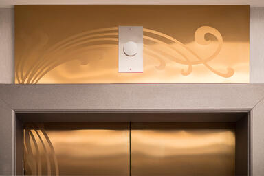 Elevator transoms shown in Fused Bronze with Satin finish and custom Eco-Etch