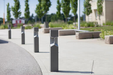 Knight Bollards shown with Slate Texture powdercoat at Private Location