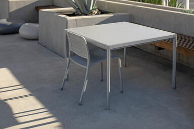 Avivo Chair with Silver Texture powdercoat and Riva perforation pattern; Avivo T