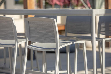 Avivo Bar Stools with Silver Texture powdercoat and Riva perforation pattern; Av