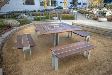 Apex Table Ensemble in four-bench configuration with Silver Texture p