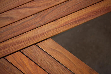 Detail of Vector Seating System, FSC® 100% Jatoba hardwood slats