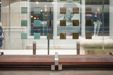 Custom wall-top seating with FSC® 100% Ipé hardwood slats