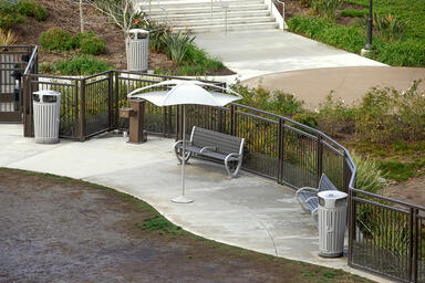 Trio Benches shown in 6 foot, backed configuration with Aluminum Texture powderc