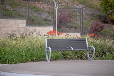 Trio Bench shown in 6 foot, backed configuration with Aluminum Texture powdercoa