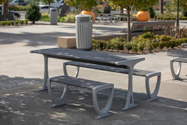 Trio Table Ensemble shown in ADA configuration with Aluminum Texture powdercoate
