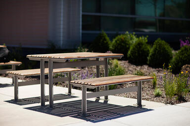 Knight Table Ensemble shown in backless configuration with Aluminum Texture
