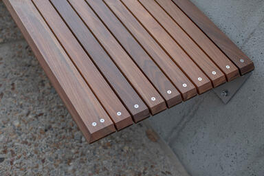Custom Bench with FSC® 100% Ipé hardwood slats at Cal Poly Pomona, Pomona, Calif