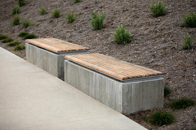Knight Benches shown in backless configuration with Aluminum Texture powdercoate