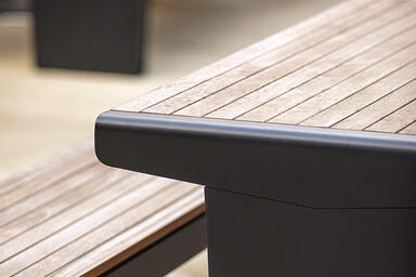 Vector Table Ensembles shown with Black Texture powdercoated frames and FSC® 100