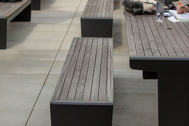 "Vector Table Ensembles in custom 96"" length with Black Texture powdercoated fram"