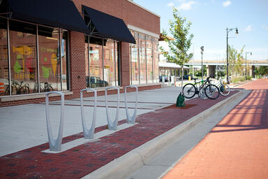 Trio Bike Racks shown with Silver Texture powdercoat at Downtown Market