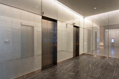 LEVELr Wall Cladding System with panels in ViviStrata Layers glass in Reflect co